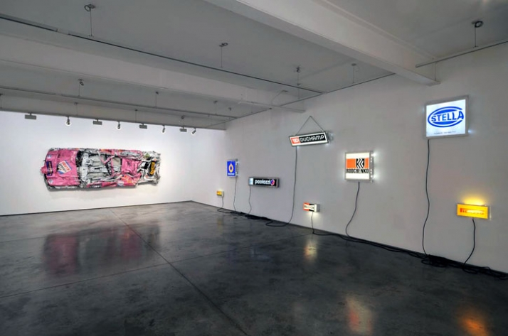Installation shot, left - right: Pink Painting 1996-2009. Light boxes, years and dimensions variable  //  photo © Paul Tucker 2009