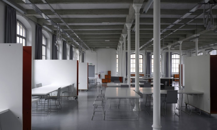 view of the New School of Art and Design Saint-Étienne with the whole project of furniture  Image Courtesy Cité du design