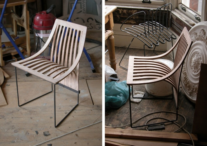 """One cut"" & ""Wire"" chairs // Image Courtesy of Scott Jarvie"