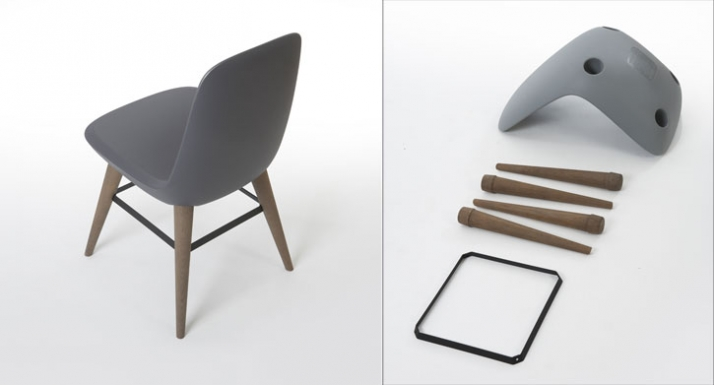 Rotational moulded and oak dining/occassional chair h 820 x w 450 x d 550 mm manufactured by Devorm