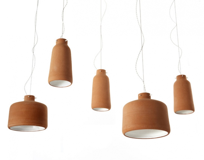 hand thrown clay pendant lights with gloss white glazed interior h 300/2260 x Ø 220/300 mm manufactured by Viaduct