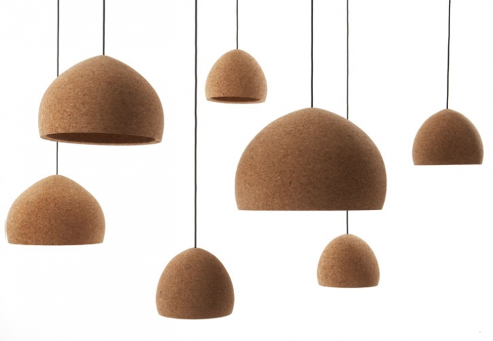 Hand turned Portuguese agglomerate cork lamps h 200/300/400 x Ø 250/400/600 mm manufactured by Unique Copenhagen