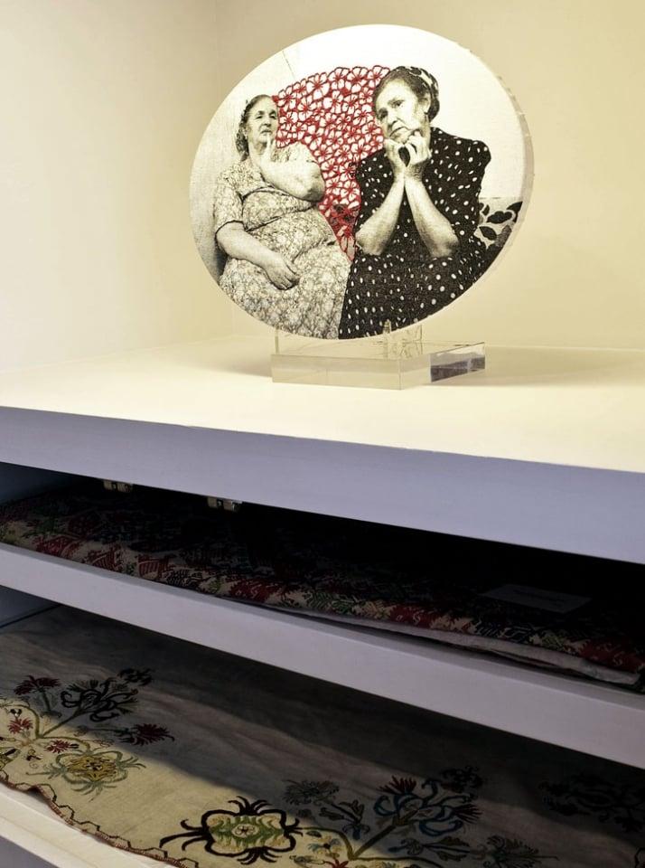 'Sisters' 2008 print, embroidery on canvas 30 x 40 cm photo © Odysseas Lekkas