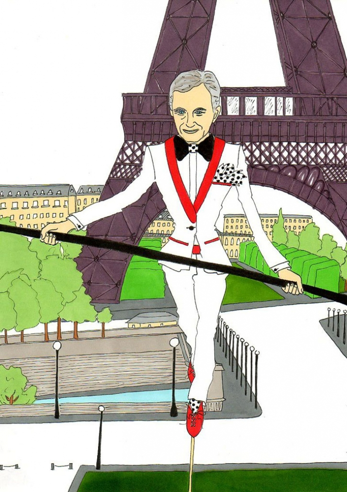 Bernard Arnault, the luxury tight-rope walker Illustration by aleXsandro Palombo