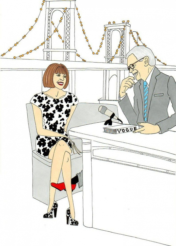 Anna Wintour on the David Letterman show Illustration by aleXsandro Palombo