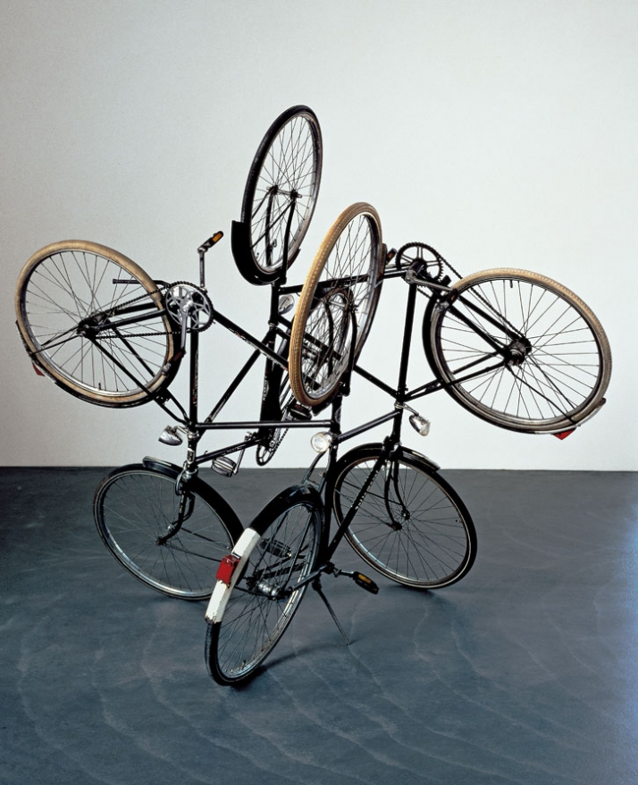 "Gabriel Orozco. (Mexican, born 1962) Four Bicycles (There Is Always One Direction). 1994 Bicycles, 6'6"" x 7'4"" x 7'4"" (198.1 x 223.5 x 223.5 cm) Carlo"