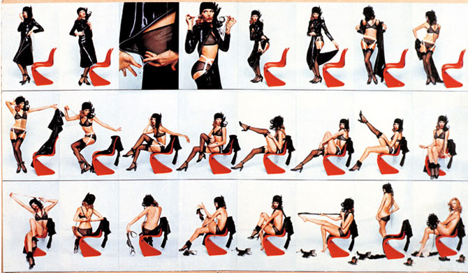 """How to undress in front of your husband""/Photo series with Amanda Lear // photo © Brian Duffy Image Courtesy of Vitra"