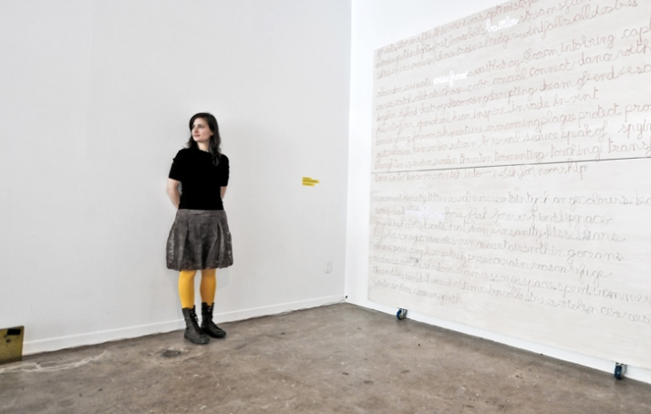 "Mouna Andraos in front of her ""6 is for blossom"" artwork // photo © Varial Studio"