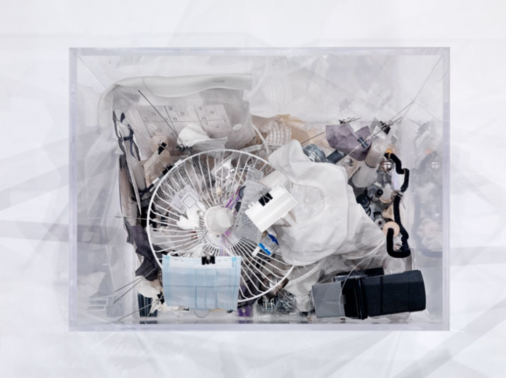 "(top view) HEALTH box from the series ""Self-Containers"" by Iliodora Margellos (Plexiglas, found objects, in/organic substances, glass, metals, plastic"