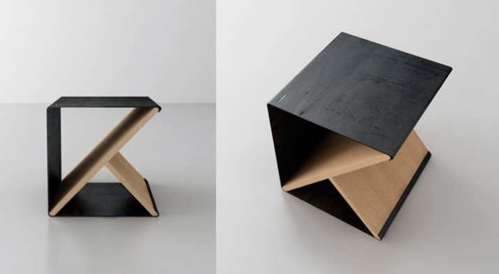 Steel Stool // A simple metal sheet supported by a the minimally designed wooden y-frame which can be assembled to create a unique shelving storage de