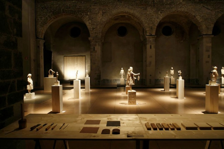 "Exhibition arrangement of the solo show: ""Love at first touch: Gehard Demetz"", curated by C. Antolini, 2009,  in a former San Francesco church, Como,"