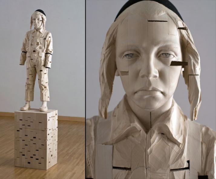 """I am sorry to have forgotten the dreams I mode as child"", © Gehard Demetz, 2010, wood, 170 x 37,5 x 31 cm, Courtesy Galleria Rubin, Milano,  Photo"