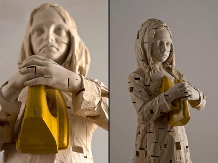"""Forgive me if coudn't handle"", © Gehard Demetz, 2009, wood, 173 x 33 x 38 cm // details Courtesy Galleria Rubin, Milano,  Photo by Martino Gerosa //"