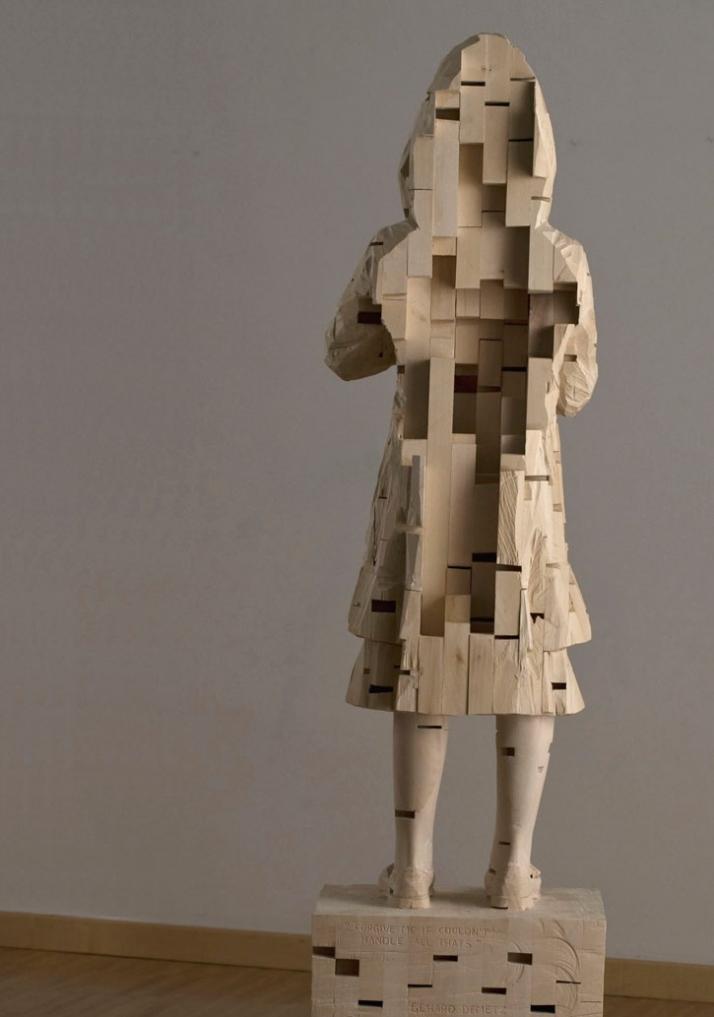 """Forgive me if coudn't handle"", © Gehard Demetz, 2009, wood, 173 x 33 x 38 cm // back detail Courtesy Galleria Rubin, Milano,  Photo by Martino Gerosa"