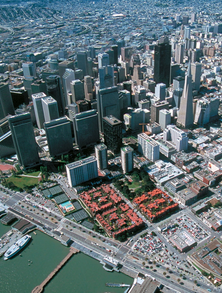 Aerial waterfront view // Golden Gateway Commons in San Francisco, California