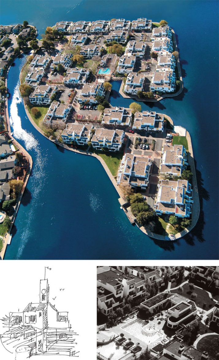 The Islands in Foster City, California  Upper Right: Aerial view, Lower Right: Pool house
