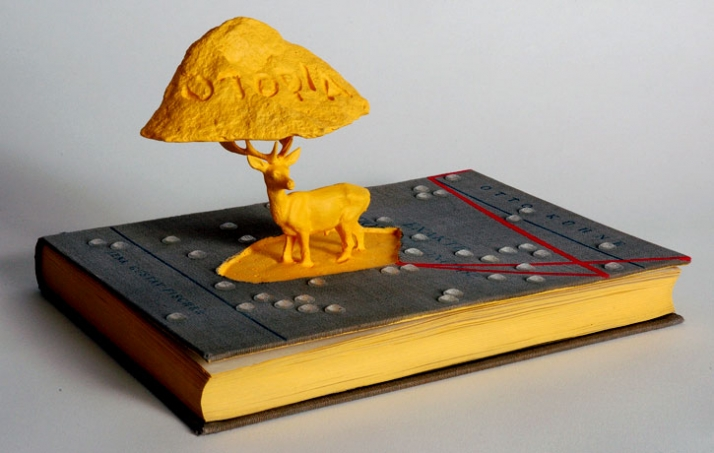 practicing utopia,  © George Tserionis, 2009 book,plaster,acrylic colours,silicon bubble 110x20x18cm photo by A.Douveri Image Courtesy of George Tseri