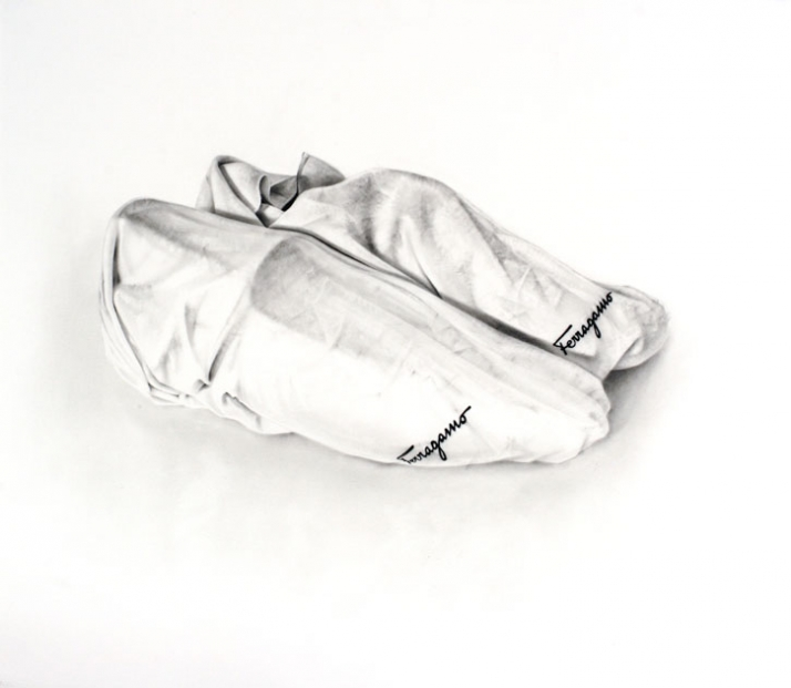 UNTITLED (SHOE BAGS) 67x77cm, charcoal on paper // © Michael Zavros 2006