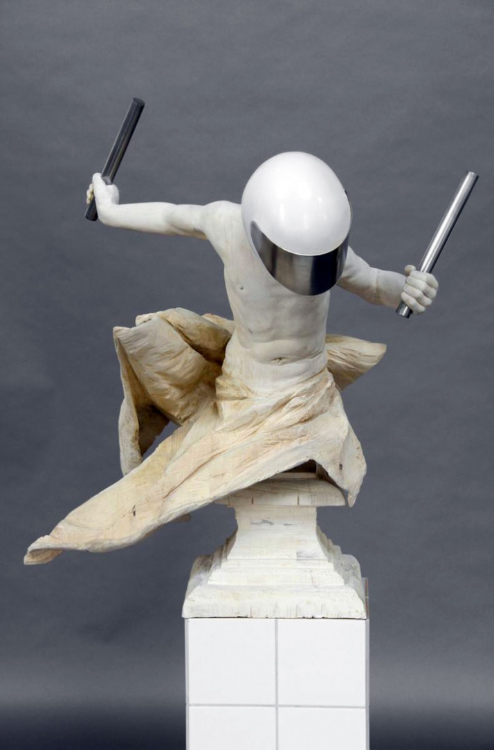 Drummer © Gregor Gaida, 2009 80 x 65 x 90 cm painted and sprayed wood, aluminium flaged base 30 x 30 x 90 cm
