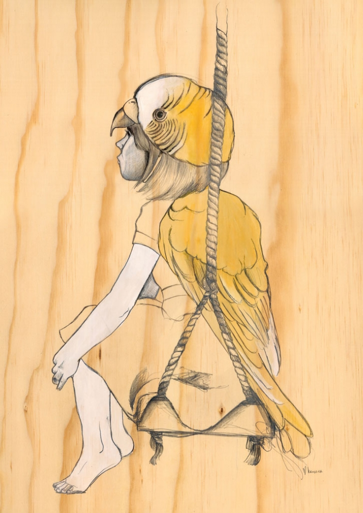'mood swings' series for exhibition at 19karen pencil, biro, ink and gouache on pine wooden box ©  Kareena Zerefos, 2010