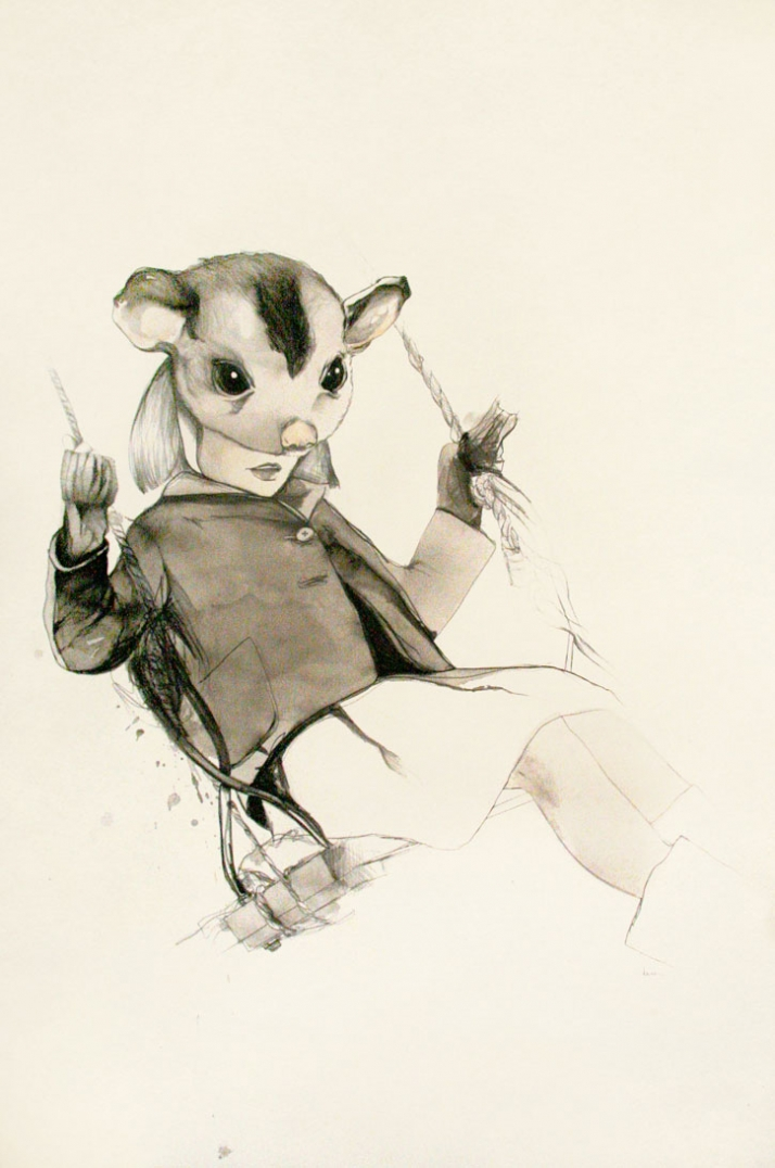 sugar glider pencil, ink and gouache on rives BFK ©  Kareena Zerefos, 2010