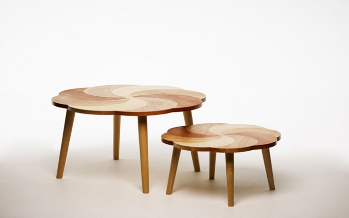 Put A Spin On It Table Veneered wooden pattern in birch, oak, and pear. Legs in birch. Ø 75 H 39 cm // Ø 55 H 27 cm