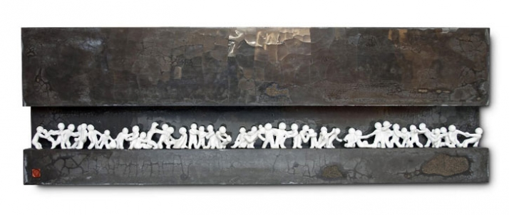 The Way We Were, 40 x 108 x 12 cm, Materials: Polished Concrete & Stoneware  // © Petr Weigl