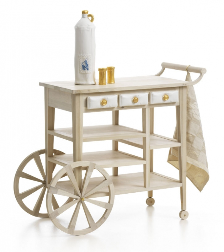 CATCHING FISH Trolley, tulip wood Collection Zuiderzee MuseumJenever bottle, ceramics (matte white & gold Jenever cup, ceramics (matte white &amp