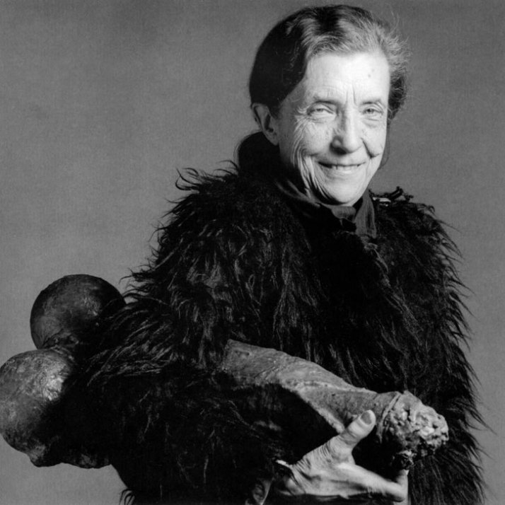 """Louise Bourgeois in 1982 with 'Filette' (1968) photo: Robert Mapplethorpe FILLETTE, 1968 Latex over plaster 23 1/2 x 10 1/2 x 7 3/4""""; 59.6 x 26.6 x 19"""