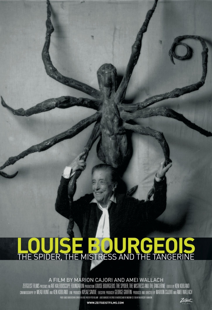 LOUISE BOURGEOIS// THE SPIDER, THE MISTRESS AND THE TANGERINE.  A Zeitgeist Films release. Louise Bourgeois with Spider IV in 1996. Photo: Peter Bella