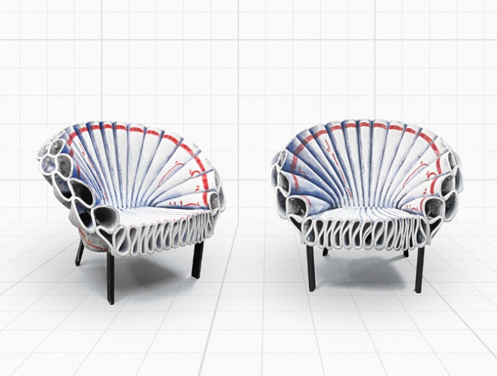 Redlining for Peacock armchair by Dror for Cappellini // © Dror Studio