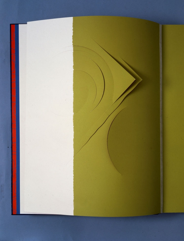 Stephen Antonakos, Alphavitos, 1986-90,  unique artist's book, etching, cuts and collages, silver cover on blue leather, 49.5 x 40 x 7 cm, private col
