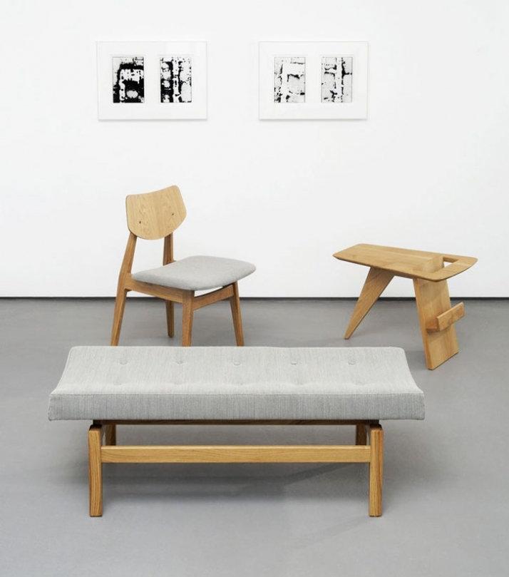 "Jens  Risom Furniture / Photograph from left to right :U 620 Upholstered bench Oak with Kvadrat Steelcut fabric W 48"" D 18"" H 17"" W 1220mm D 457mm H 4"