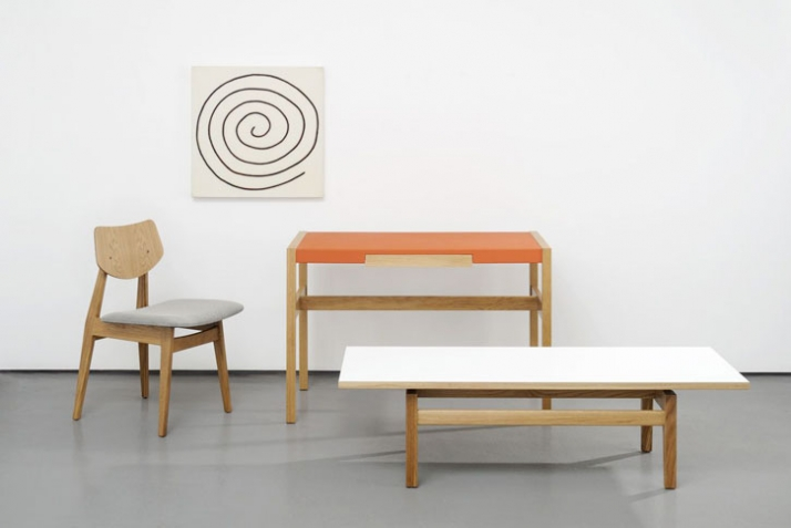 "Jens  Risom Furniture / Photograph from left to right :C 275 Side chair Oak with Kvadrat Steelcut fabric W 19"" D 21"" H 31"" W 483mm D 533mm H 787mm £48"