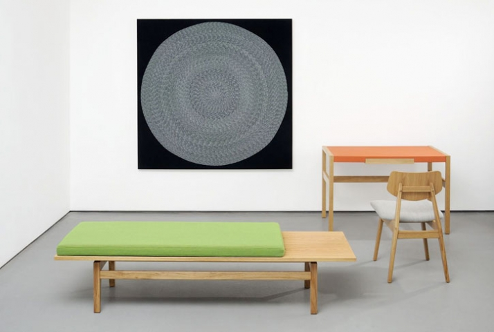 "Jens  Risom Furniture / group photograph 10 Photograph from left to right :T 621 Bench Oak with Kvadrat Steelcut fabric cushion W 72"" D 21"" H 15"" W 18"