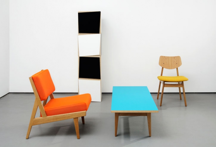 "Jens Risom Furniture / Photograph from left to right :U 431 Low armless chair Oak with Kvadrat Divina fabric W 23"" D 28"" H 29"" W 584mm D 711mm H 737mm"