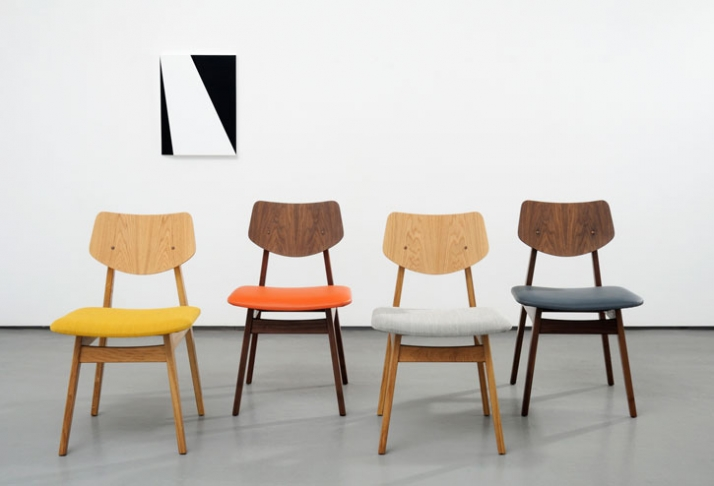 "Jens Risom Furniture / Photograph from left to right :C 275 Side chair Oak with Kvadrat Steelcut fabric seat W 19"" D 21"" H 31"" W 483mm D 533mm H 787mm"