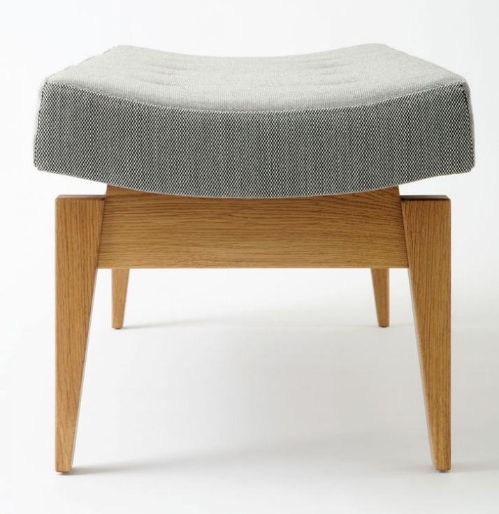 "U  620 Upholstered bench Oak with Kvadrat Steelcut fabric W 48"" D 18"" H 17"" W 1220mm D 457mm H 431mm £1600 Photograph © Copyright Paul Tucker / Courte"