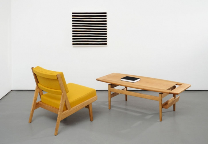 "Jens Risom Furniture / Photograph from left to right :U 431 Low armless chair Oak with Kvadrat Steelcut fabric cushions W 23"" D 28"" H 29"" W 584mm D 71"
