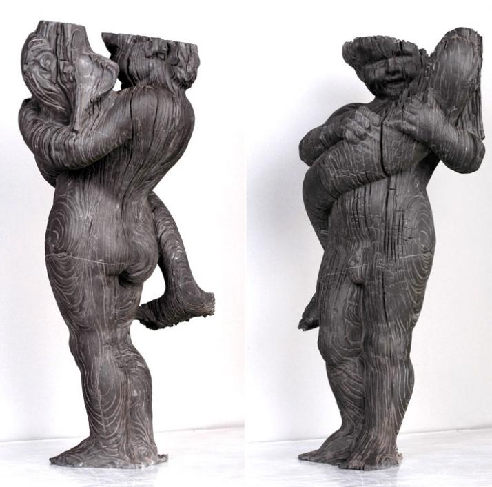 Burned putto with dolphin, 2009, marble, 66 x 40 x 30 cm, particolare Courtesy of Galleria Rubin (c) Affiliati Peducci/Savini, photo by Martino Gerosa