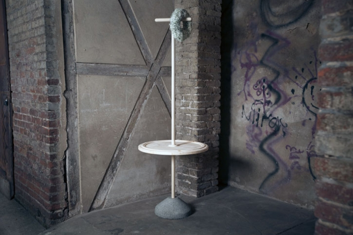 Axis Mundi - clothes rack with tray H 1850  ø 680 mm, pinewood, lightweight concrete Image Courtesy of Frank Michels