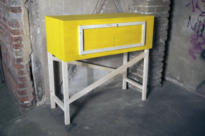 Samstag - sideboard & stand-up working table  1090 × 1080 × 480 mm, pine wood Image Courtesy of Frank Michels