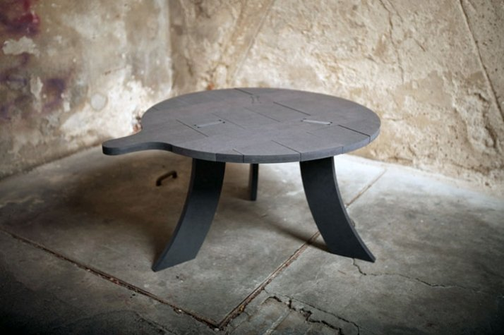 Soot - side table  H 360  ø 650 mm, black MDF  Image Courtesy of Frank Michels