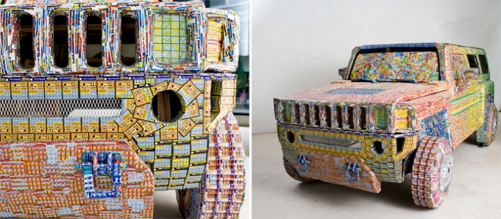 Dream Car 2008 $39,000 worth of discarded lottery tickets, cardboard, cast plastic, wood, steel, and mirror Courtesy of Ghost of a Dream