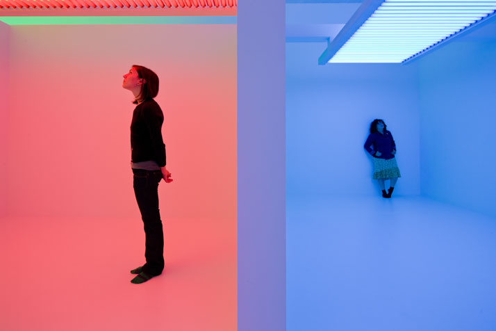 Carlos Cruz-Diez, Cromosaturación, 1965/re-â€fabricated 2010,painted drywall, fluorescent lights, and colored plastic,155 15/16 x 603 15/16 x 291 5/