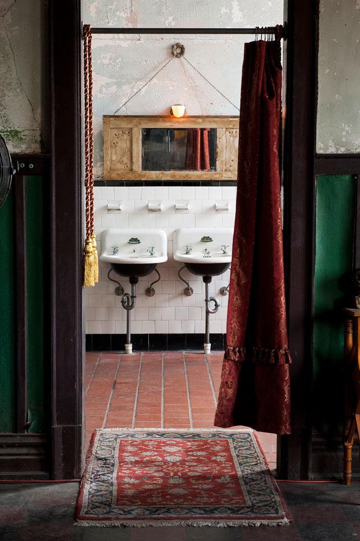 Bohemian Look Bathroom Vintage Cabinet With Mirror Ethnic Entrance Carpet Door Curtain In