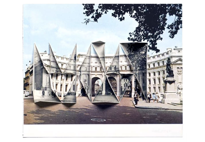 Abigail Reynolds, The Universal Now: Admiralty Arch 1977 / 1950 2010 Cut and folded  vintage bookplates  11.25 x 13.13 in (Framed) 28.5 x 33.4 cm ©