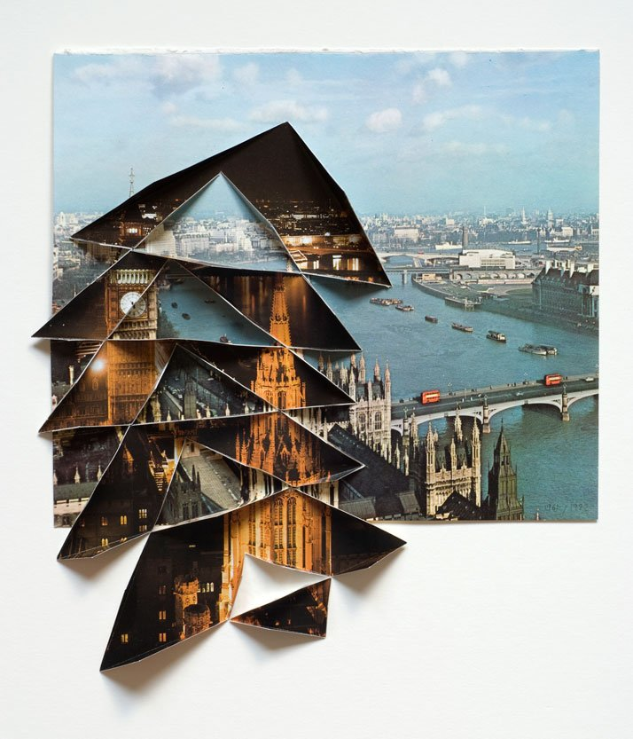 Abigail Reynolds, The Universal Now: Big Ben & Thames 1961 / 1982 2010 Cut and folded  vintage bookplates  14.13 x 13.88 in (Framed) 36 x 35.3 cm