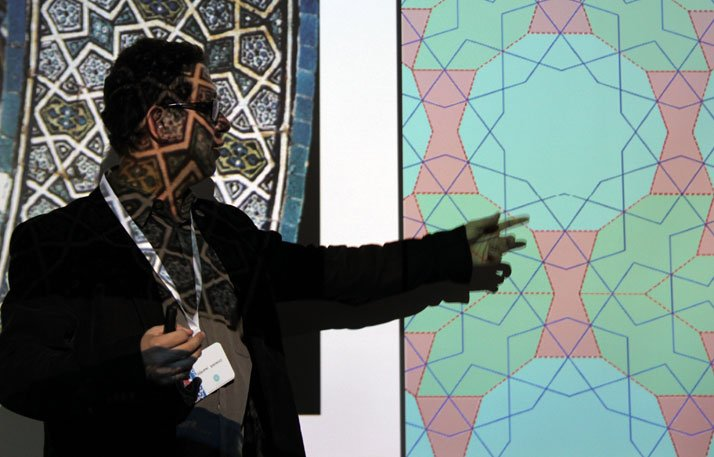 Designer+historian Gökhan Karakuş at the HQ of Iznik Foundation in Istanbul, during his presentation of the geometry of tiles.photo © Costas Voyatzis