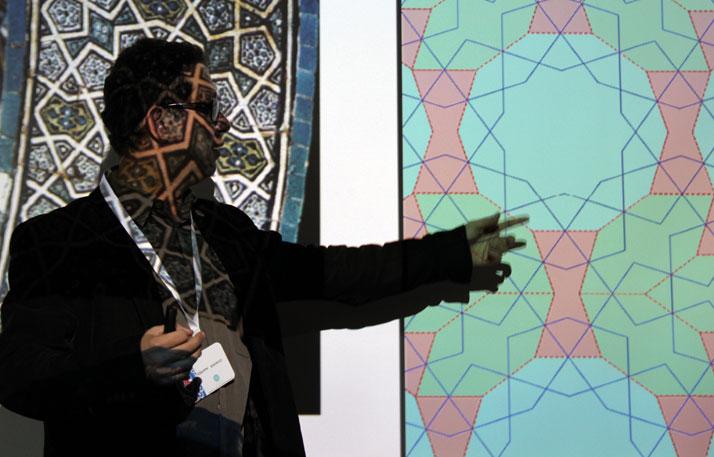 Designer+historian Gökhan Karakuş at the HQ of Iznik Foundation in Istanbul, during his presentation of the geometry of tiles.photo © Costas Voyatzis